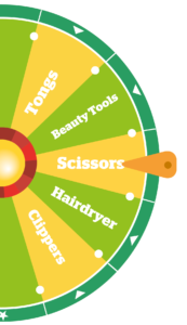 Prize wheel with tool options